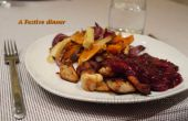 Kip geserveerd met een saus van het kaneel, cranberry, poort geserveerd met oven geroosterde pastinaak, rode ui & zoete aardappel frietjes