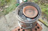 Smelten van aluminium in een houtskool gieterij