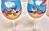 Susan creëert A Custom Design aan kant geschilderd duidelijk wijn glazen