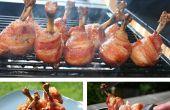 Maple geglazuurde spek gewikkeld kip lollies