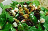 BlackBerry gember Vinaigrette over een salade van spinazie geit kaas