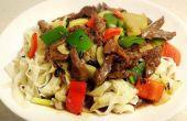 Rijst noedels met rundvlees & zwarte bonensaus