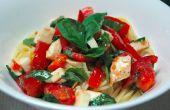 Tomaat, basilicum en Mozzarella gekoeld Pasta recept