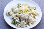 Pasta met asperges, citroen en Feta
