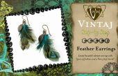 Feather oorbellen met bedels Vintaj