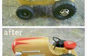 Herstel van een houten speelgoed tractor