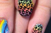 Lisa Frank geïnspireerd Ombre Leopard Print Nail Art