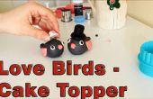 Hoe maak je een suiker plakken Fondant Love Birds taart Topper