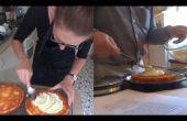 Witte chocolade en oranje spons