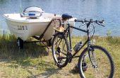 Trekken van een boot met een fiets