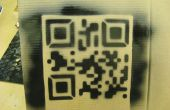 Laser-gesneden QR code stencil.