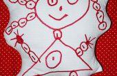 Beurt een kind tekening in een geborduurde Plushie