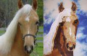 Stof portret van een paard quilt blok