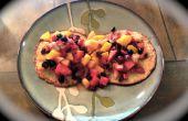 Geen meel kaneel Blueberry havermout pannenkoeken met Fruit & Raisin Topping