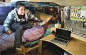 Van draaide slaapzaal, compleet met Bed en Bureau
