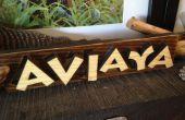 Laser gesneden uit 3D houten naam tekenen