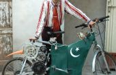 Poor Man's elektrische fiets gemaakt van gerecycleerde materialen van Junkyards.