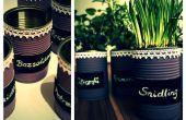 Blikje potten voor kruiden