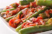 Gebakken sperziebonen met tomaten en knoflook