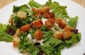 Opvrolijken saai salades met zelfgemaakte croutons