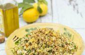 Vier graan salade met knoflook, citroen & kruiden - AllGoneVegetarian