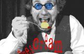 Ogen ijs - ruwe rijke vanille oog ballen met framboos rode saus