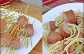 Spaghetti en gehaktballen zonder de gehaktballen