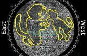 Zoeken richting noorden en tijd met behulp van de maan p3-Moon oppervlaktekenmerken