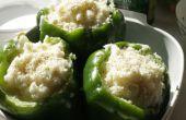 Puree van aardappel garnalen gevulde paprika's