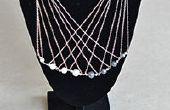 Hoe maak je een lange multi strand zilveren ketting Collier met parel kralen voor Office Lady