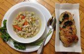 Spinazie, paprika gevuld kip & Macaroni kippensoep