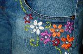 Upcycled geborduurd Jeans