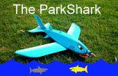 De grote blauwe ParkShark RC vliegtuig
