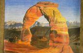 Arches Nationaalpark gekleurd potlood tekening