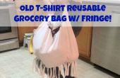 Oude T-Shirt herbruikbare Grocery Bag w / Fringe!