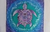 """Purple Turtle"" Silk schilderij"