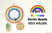 DIY Rainbow Perler kralen sleutel houder