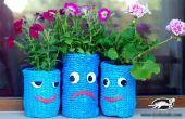 Maak van bloem planter uit nylon en fles