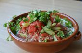 Watermeloen salade met Ajo Blanco (Spaanse witte Gaspacho) en Kombucha