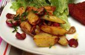 Geroosterde radijs & wit aardappel partjes geserveerd met een verse bieslook dressing