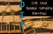 DIY schattig goud Beaded bungelende oorbellen