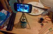Telefoon camera statief van 2 paar stokjes, 12 oz aluminium blikje en 5 elastiekjes