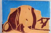 Linoleum afdrukken met behulp van meerdere blokken kleur