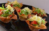 """Rundvlees """"Taco's"""" in een kopje van filodeeg"""