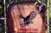 Handgemaakte Boy Scout troep Flag - leder & hout