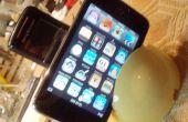 Een dual Ipod en mobiele telefoon oplader base