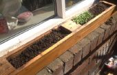 Venster planter gemaakt van oude pallet. venster vensterbank kruidentuin