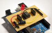 Stripboard Arduino schild voor het programmeren van ATtiny45 en ATtiny85