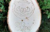 Woodburned Cubs teken