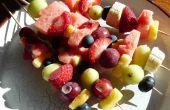 Bevroren Fruit salade & bevroren banaan Nutella spiesjes - Yummy, lekker!